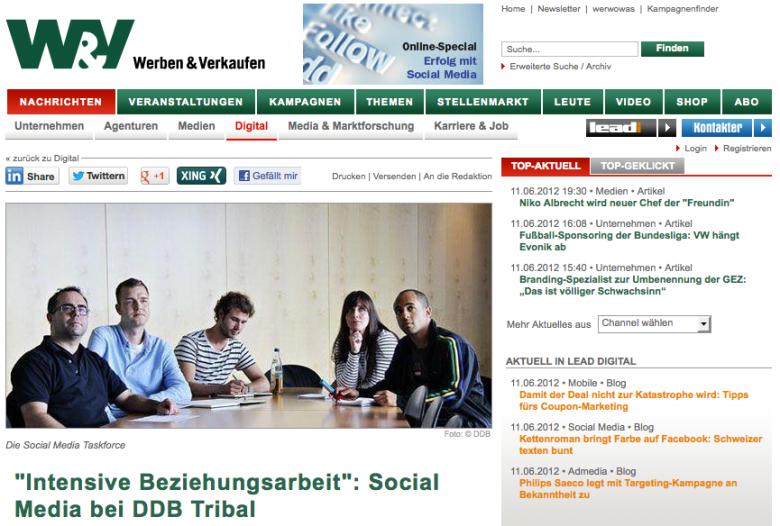 Die WUV stellt die Social Media Task Force von DDB Tribal vor. Ich bin der links neben Roland Hachmann (Head of Social Media) zu sehen.rgestellt.